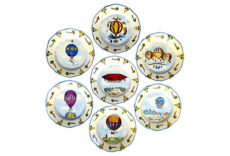 French Air Balloon Plates, S/7