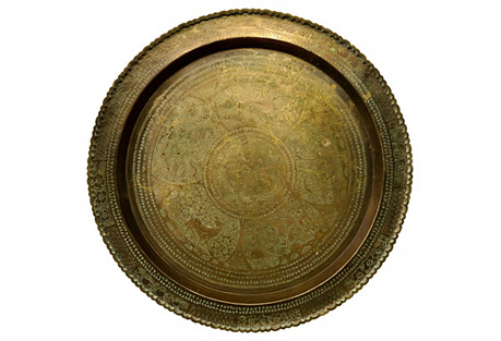 Large Antique Morrocan Brass Tray