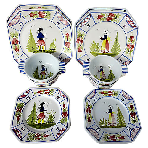 French Quimper Place Settings, 12 Pcs