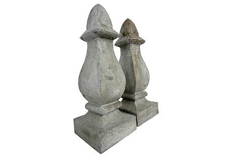 Decorative Tall Finials, Pair