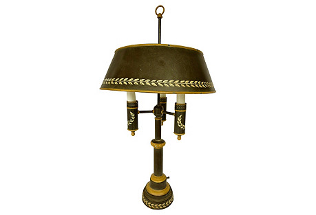 French Tole Bouillotte Table Lamp