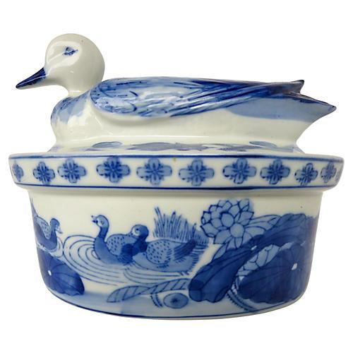 Blue & White Duck Tureen