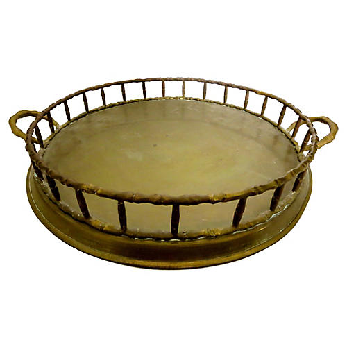 English Brass Gallery Tray