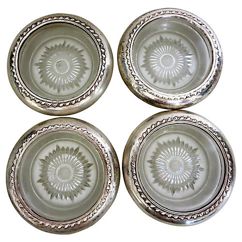 Sterling-Rimmed Cut-Glass Coasters, S/4