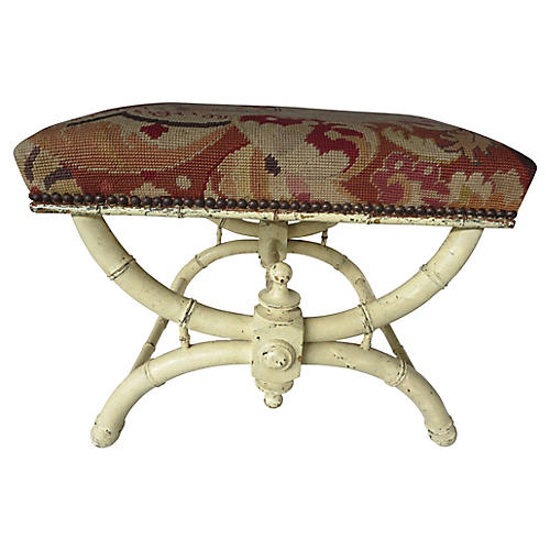 19th-C. French Aubusson Bench