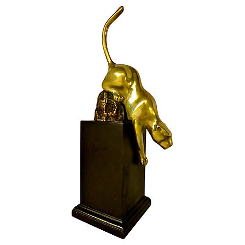 Brass Panther Sculpture on Wood Base