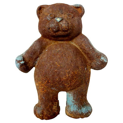Antique English Iron Teddy Bear Doorstop