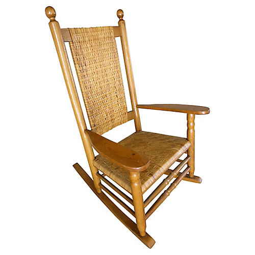 Midcentury Rattan Rocking Chair