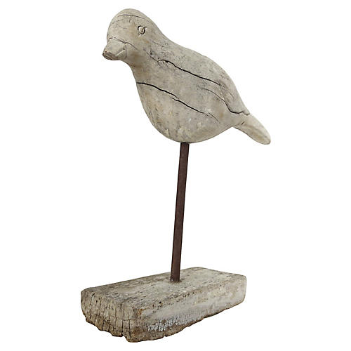 Carved Wood Bird on Stand