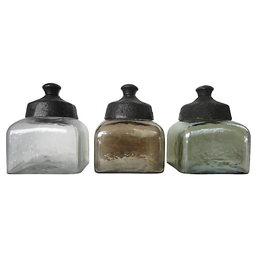Glass Vanity Jars, S/3