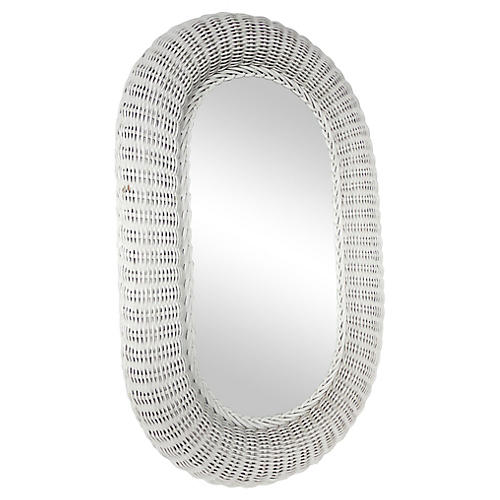 Midcentury White Wicker Mirror
