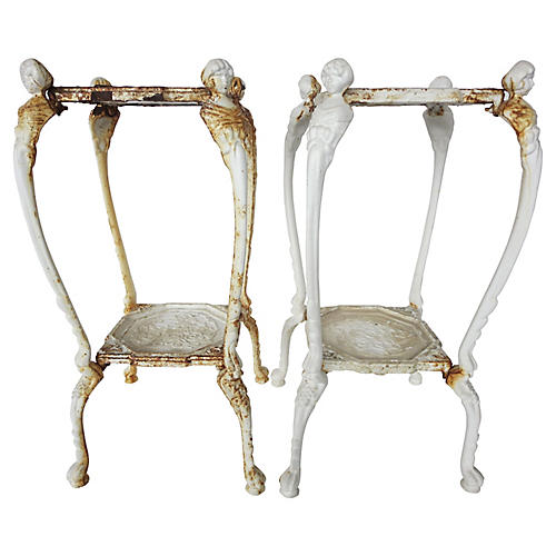 French Cast Iron Plant Stands, Pair