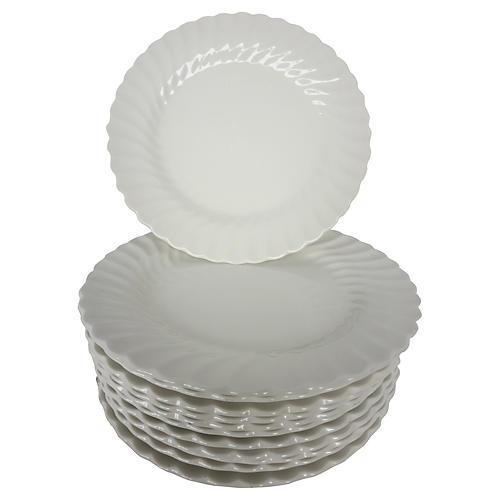 English Ironstone Dinner Plates, S/12