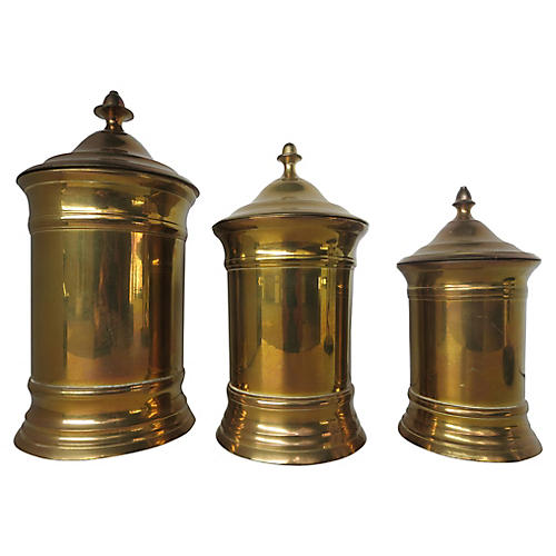English Brass Canisters, S/3
