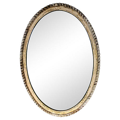French Distressed Oval Mirror