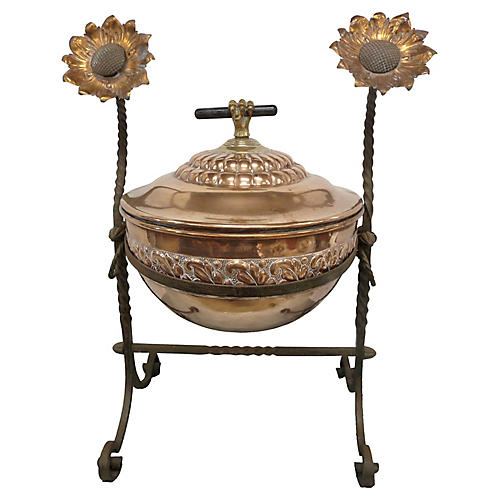 19th-C. English Copper Coal Hod