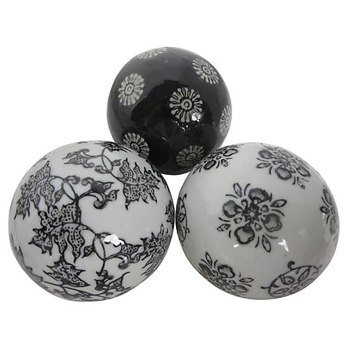 Chinese Ceramic Orbs, S/3