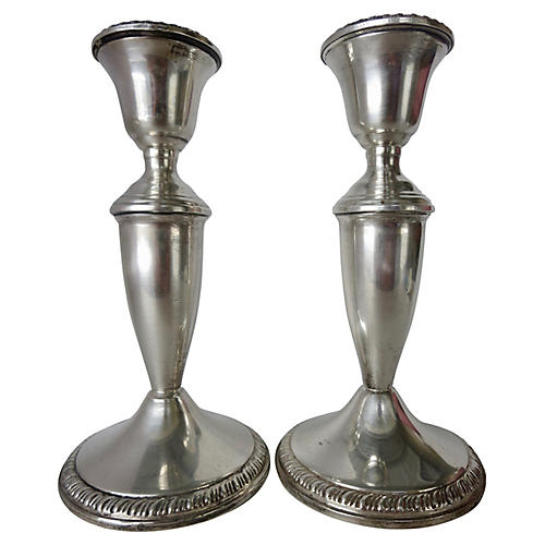 English Sterling Candlesticks, Pair