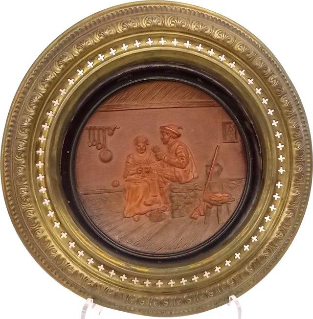 1900s German Terracotta Wall Plate