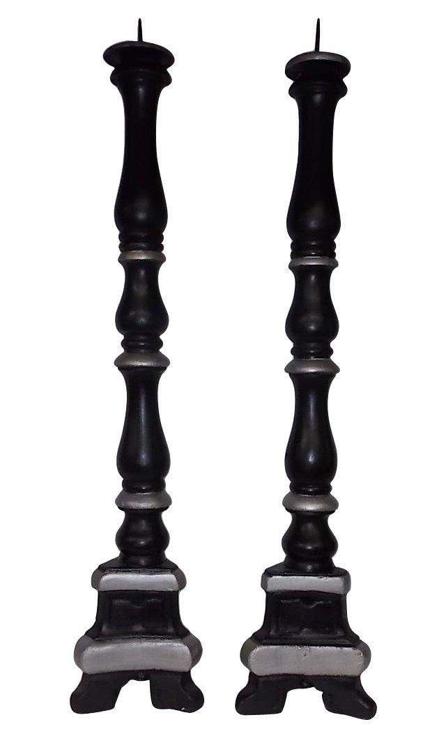 19th-C. Italian Wood Candlesticks, Pair