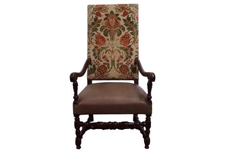 17th-C. Italian Tall-Back Armchair