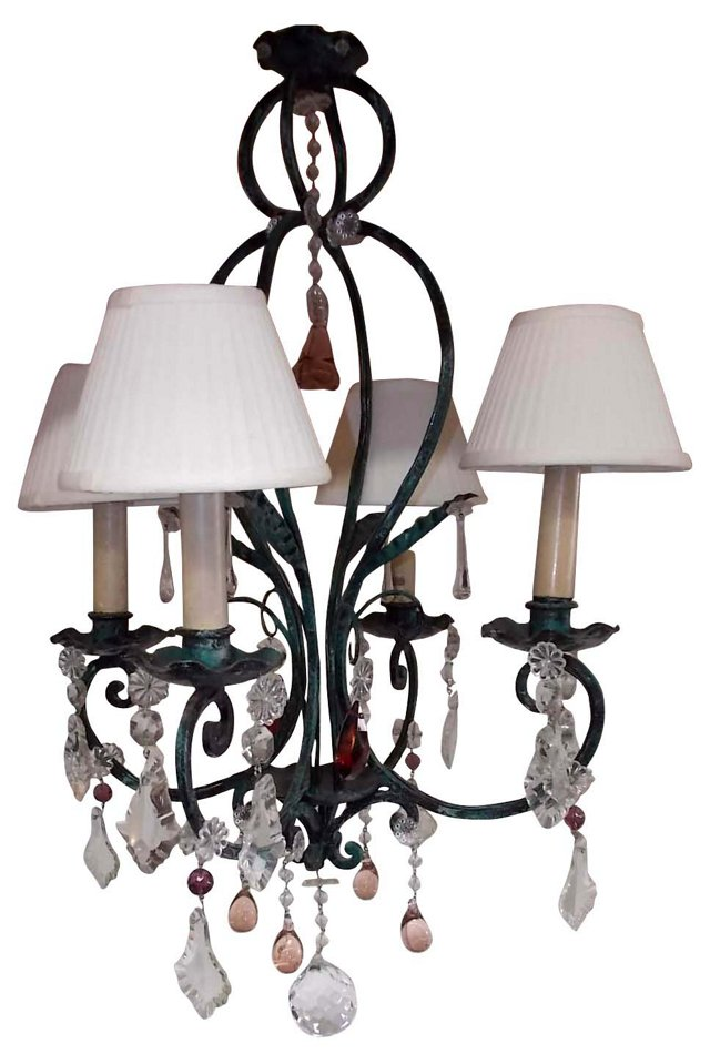 1930s French Iron Chandelier