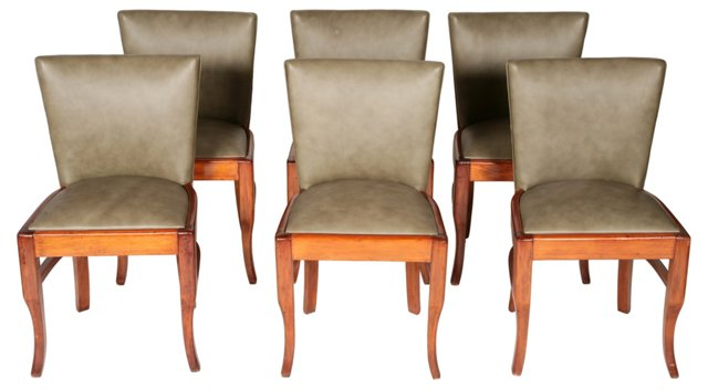 Art Deco Green Leather Chairs, S/6