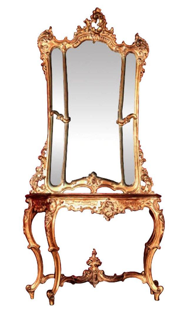 19th-C. French Gilt Console w/ Mirror