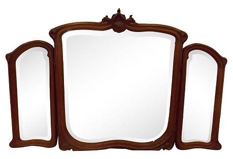 Mahogany Vanity Mirror w/ Side Panels