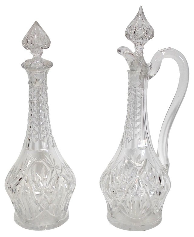 French Crystal Decanters, Pair