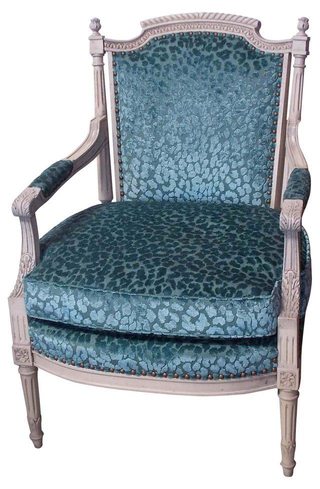 French  Blue Velvet Armchair