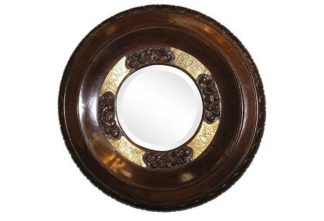 Wood & Brass Round Mirror