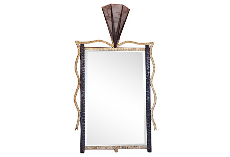 Art Deco-Style Forged Iron Mirror