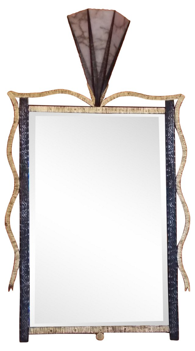 Art Deco-Style Forged Iron Mirror