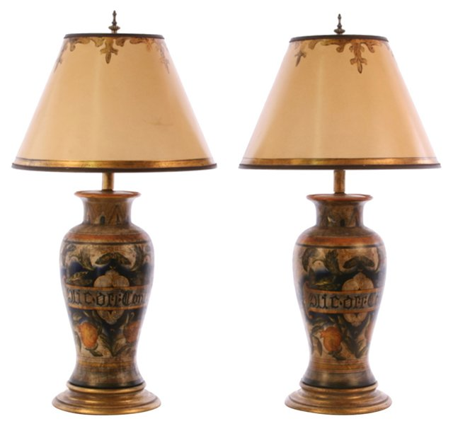 French Normandie Table Lamps, Pair