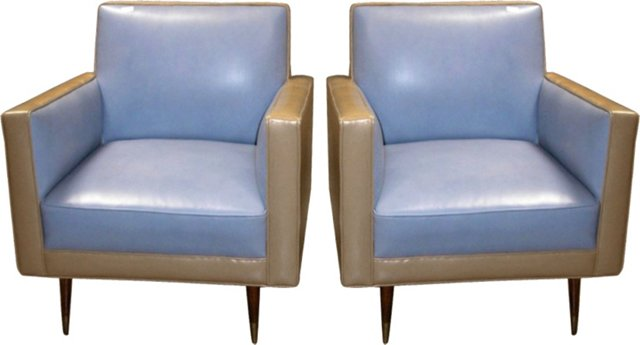 Midcentury Leather Club Chairs, Pair