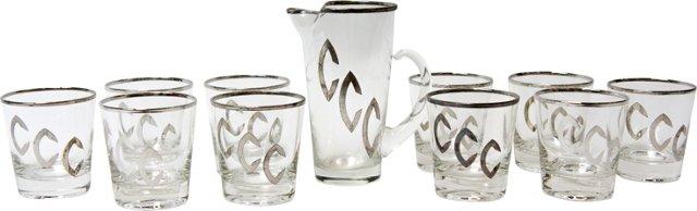 Midcentury Pitcher & 10 Glasses Set