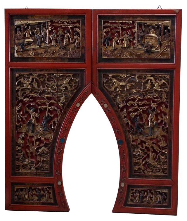19th-C. Chinese Wood Panels, Pair
