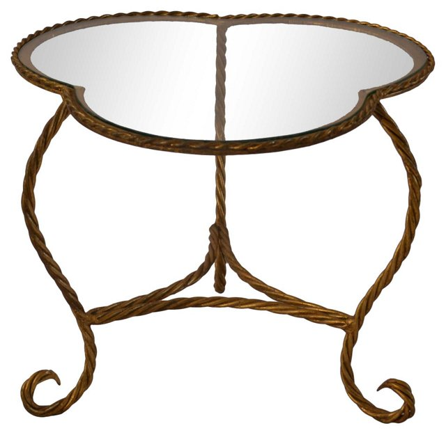 Gilded Rope-Style Accent Table