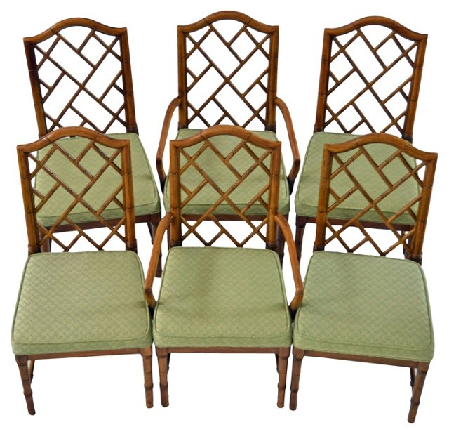 Faux-Bamboo    Chairs, S/6