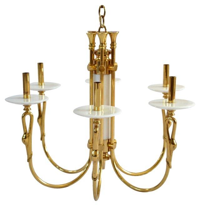 Italian Brass & Marble Swan Chandelier