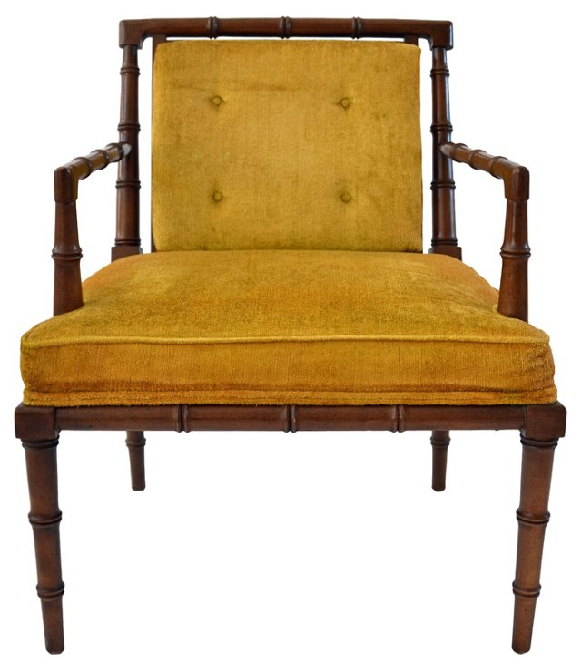 Upholstered  Faux-Bamboo Armchair