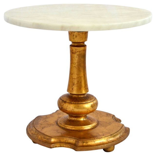 Marble-Top Gilded Side Table