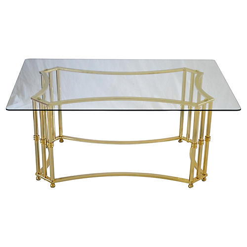 Brass Finish & Glass Coffee Table