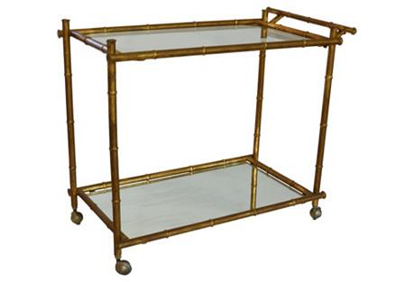 Gilt Bamboo-Style Bar Cart