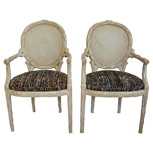 Faux Bois-Style Armchairs, Pair