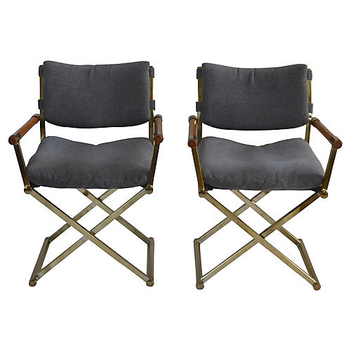Brass Upholstered Director's Chairs, S/2
