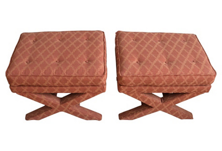 Tufted Upholstered X-Benches, Pair