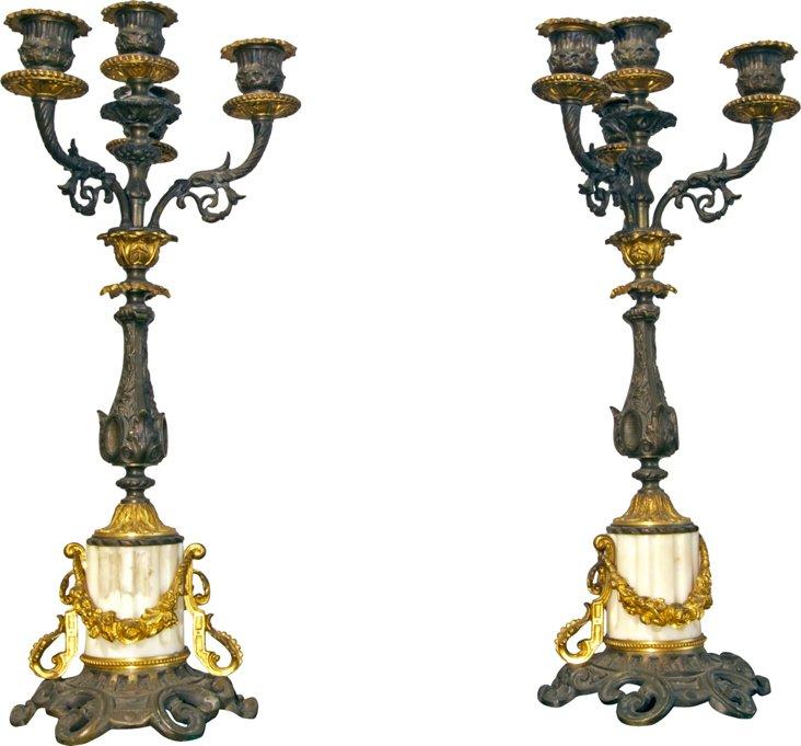 Bronze Doré 4-Arm Candelabras, Pair