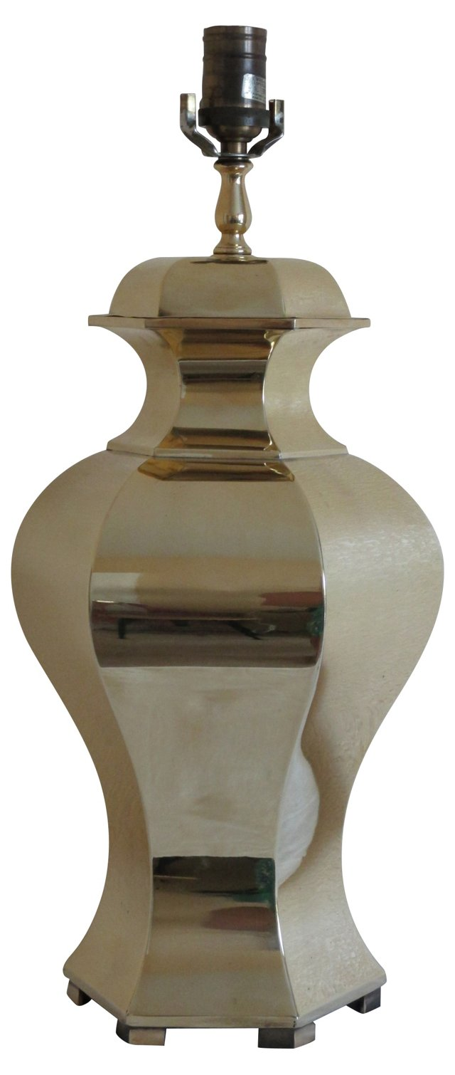 Polished Brass Ginger Jar Lamp